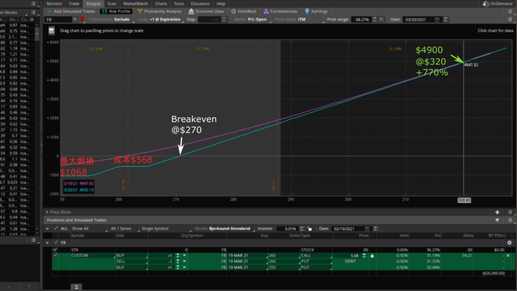 用TD Ameritrade分析FB期權交易投資報酬率